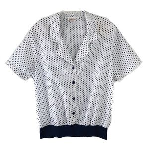 Vintage Lauren Lee Navy Blue Polka Dot Blouse